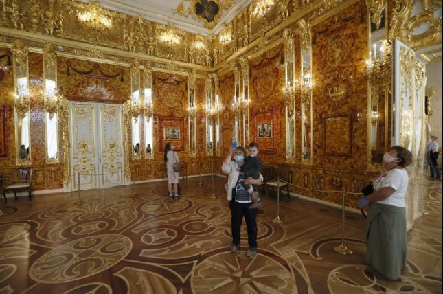 A replica of the Amber Room is seen in the Catherine Palace on July 13 near St. Petersburg, Russia. File Photo by Anatoly Maltsev/EPA-EFE
