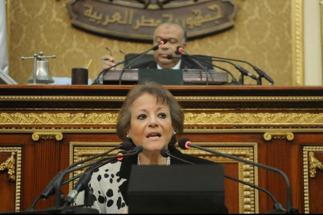 Egyptian planning minister Fayza Aboul Naga addresses Egyptian Parliament about the foreign funding case. On Thursday, all the defendants were acquitted in the case. STR/EPA-EFE