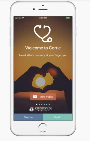 Johns Hopkins Health has developed the Corrie app for the iPhone to help patients track medications, follow-up appointments and lifestyle changes. Photo courtesy of Johns Hopkins Health