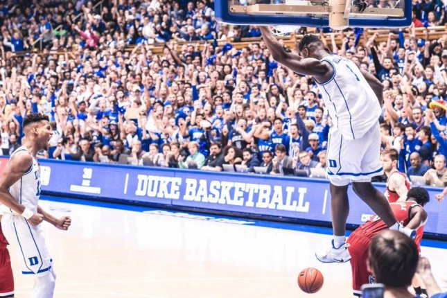 Zion Williamson (R) averages 22.4 points per game, 9.2 rebounds and 2.3 assists this season and the Blue Devils are the top-ranked team in the country. Photo courtesy of Duke Blue Devils/Twitter