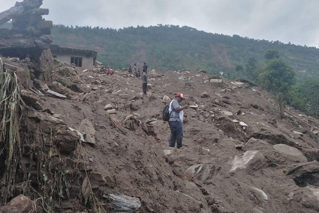 The Nepal Red Cross Society said Sunday a landslide destroyed at least 65 houses in the Barhabise Municipality. Photo courtesy of Nepal Red Cross Society