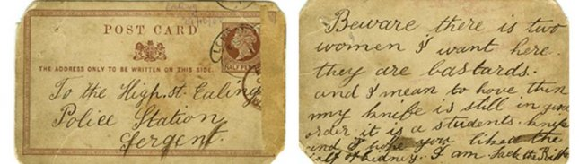 A postcard purportedly sent to police by 19th century serial killer Jack the Ripper sold for nearly $30,000 at a British auction. Photo courtesy of Grand Auctions