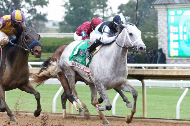 Valiance wins the Grade I Spinster at Keeneland on Sunday and likely is headed for Breeders' Cup Distaff. Photo courtesy of Keeneland