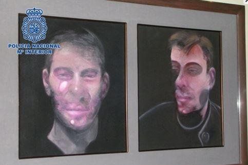 The National Police in Madrid analyzed emailed images of the paintings by Francis Bacon, which were stolen last July and worth $27.8 million. Photo from National Police in Madrid