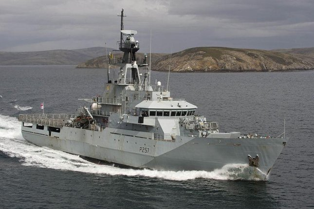 River Class Patrol Vessel HMS Clyde is pictured exercising at sea. U.K. Ministry of Defense photo by Jay Allen