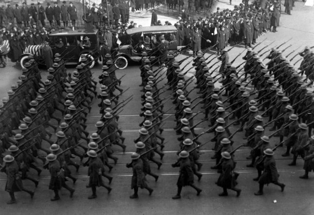 Members of the 369th Infantry march on New York City's Fifth Avenue on February 17, 1919, after returning from the war in Europe. Photo courtesy National Archives