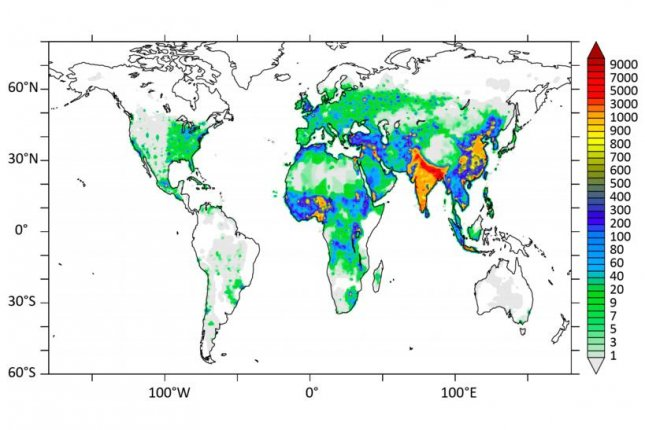 A map shows the distribution of air pollutants across the globe. Photo by Lelieveld et al./Nature