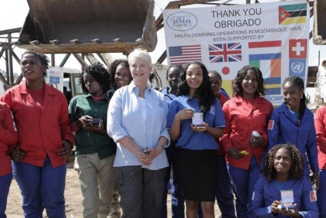 Cindy McCain, in white shirt, was among those working to rid Mozambique of land mines (Halo Trust:http://www.halotrust.org/case-studies/women-halo-mozambique)