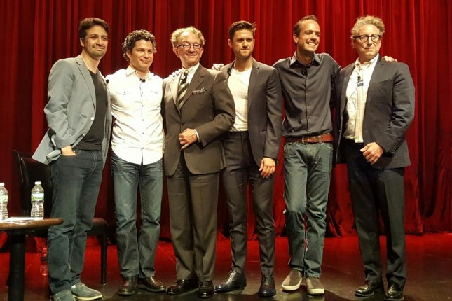 Lin-Manuel Miranda (L-R), Tom Kail, William Ivey Long, Aaron Tveit, Alex Rudzinski and Bernard Telsey talk about FOX's Emmy-nominated Grease Live! production at the Edison Ballroom in New York on Aug. 15, 2016. Photo by Karen Butler/UPI
