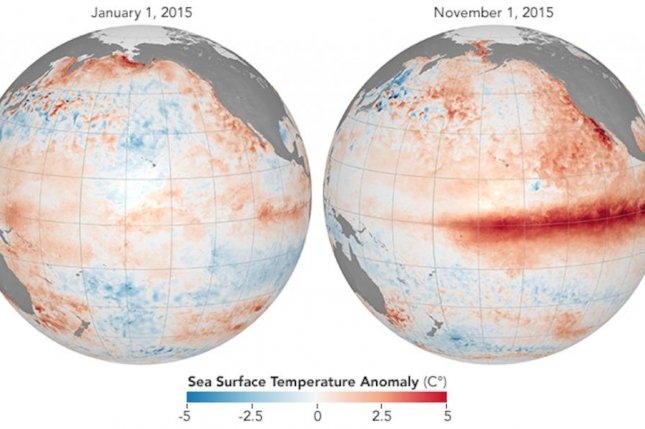 The El Niño pattern in 2015 and 2016 triggered extreme heat around the globe. Photo by NASA/NOAA