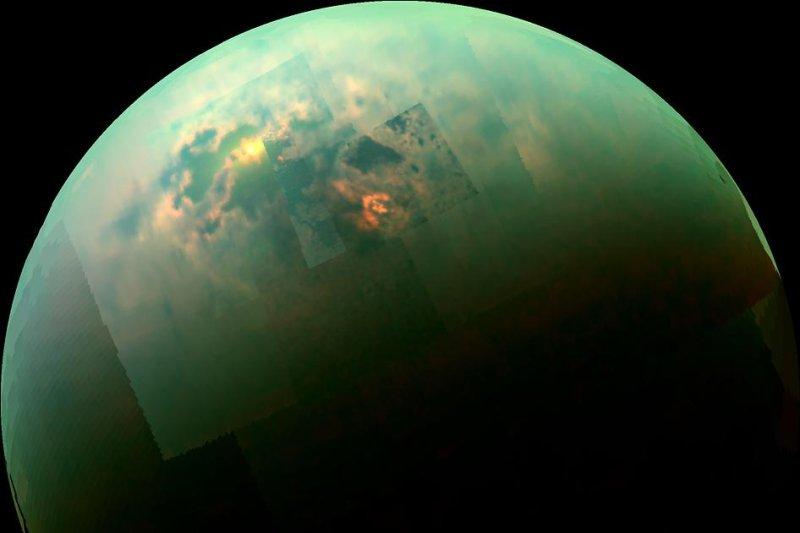 A Cassini-captured mosaic image of Titan. (NASA/JPL-Caltech/University of Arizona/University of Idaho)
