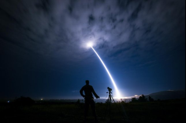 Test launch of a Minuteman III ICBM from Vandenberg AFB, Calif. Photo courtesy of the 30th Space Wing