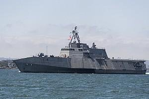 The USS Charleston, an Independence-variant littoral combat ship, sails through San Diego Bay in transit to the ship's Naval Base San Diego home port. It is the 11th LCS to be homeported in San Diego. Photo by Mass Communication Specialist 1st Class Woody S. Paschall/U.S. Navy