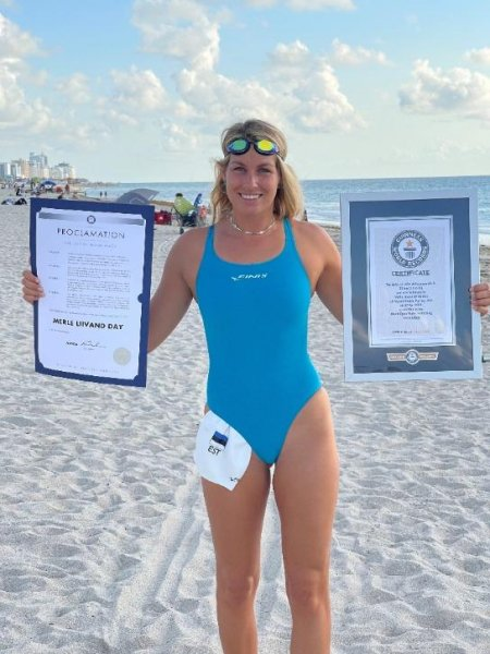 Estonian swimmer Merle Liivand broke a Guinness World Record for the third time when she swam a distance of 18.6 miles wearing a monofin. Photo courtesy of Guinness World Records