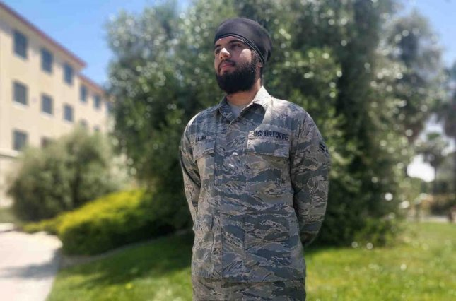 Airman 1st Class Harpreetinder Singh Bajwa is the first active-duty airman permitted to dress according to theSikhreligion. Photo courtesy of ACLU/Website