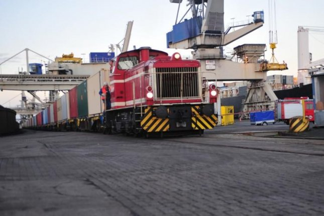 The United States shipped more than 600 shipping containers of ammunition to Europe, its largest such shipment in 20 years. Pictured, a train pulling cars of U.S. Army and Air Force ammunition moves out of the port Oct. 29 at Nordenham, Germany for movement to Miesau Army Depot, Miesau, Germany. U.S. Army photo by Sgt. 1st Class Jacob McDonald