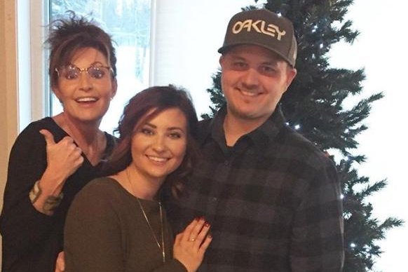 Sarah Palin (L), pictured with Willow Palin (C) and Ricky Bailey, announced the couple's engagement Wednesday. Photo by Willow Palin/Instagram
