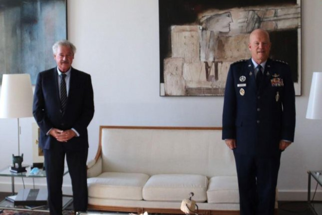 U.S. Space Force chief Gen. John Raymond, R, met with European representatives, including Luxemburg Foreign Minister Jean Asselborn, L, in Luxemburg on Thursday, seeking alliances in the space domain. Photo courtesy of Luxemburg Foreign Ministry/Twitter