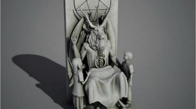 The proposed design of the Satanist statue the Satanist Temple hopes to place at the Oklahoma Statehouse.