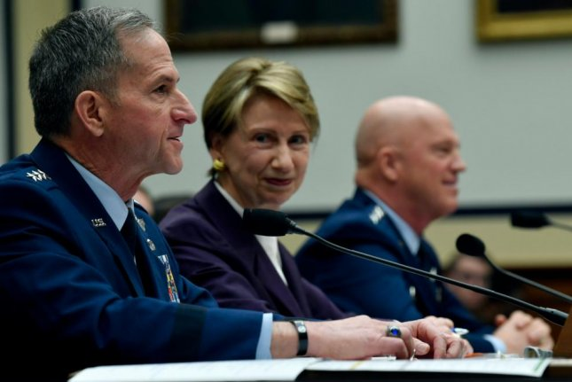 Air Force Chief of Staff Gen. David Goldfein, L, Secretary of the Air Force Barbara Barrett, C, and Chief of Space Operations Gen. John Raymond, R, here at a March 4, 2020 Senate hearing, ordered a review of racial disparity within the branch by the Air Force Inspector General. Photo by Wayne Clark/U.S. Air Force/UPI