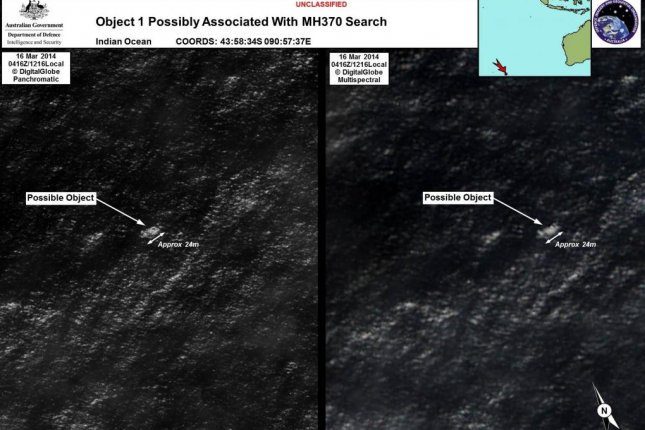 Satellite imagery of debris Object 1 possibly associated with missing Malaysia Airlines flight 370, taken March 16, 2014. (Australian Government/Department of Defense)