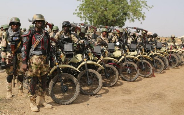 A motorized Nigerian Army force prepares to fight Boko Haram. Civilian security forces reported that three people were killed Sunday when Boko Haram insurgents attacked the village of Yaza-Kumaza in Nigeria's southern Borno state. Photo courtesy of the Nigerian Army