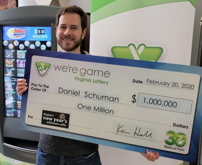 A Virginia man who never plays the lottery said his wife gifted him a ticket that won a $1 million jackpot. Photo courtesy of the Virginia Lottery