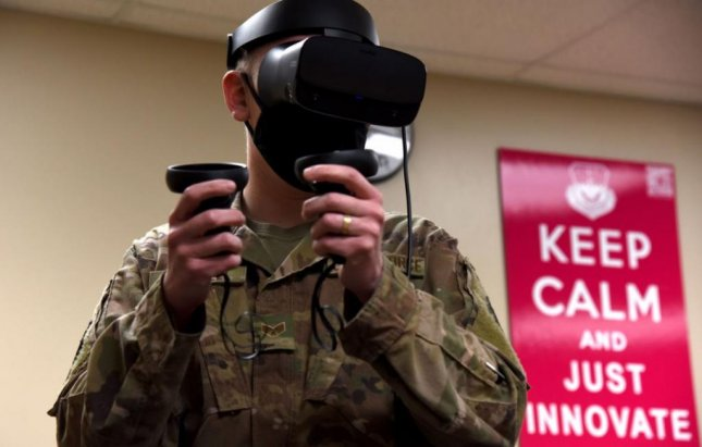 Senior Airman Alexander Luttrell tests drafting software with a virtual reality headset in the Wing1Werx Innovation Lab in December at Malmstrom Air Force Base, Mont. Photo by Airman Elijah Van Zandt/U.S. Air Force