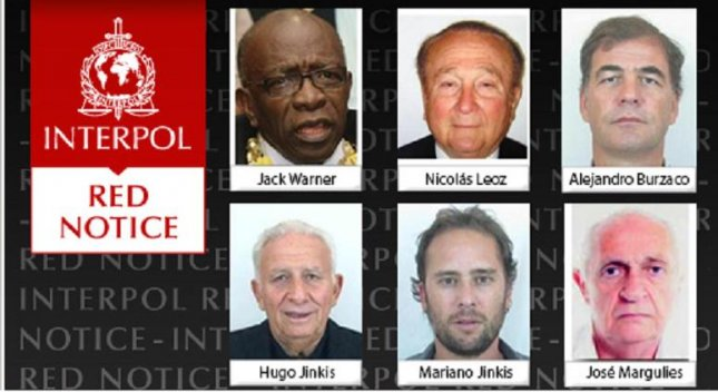 Interpol has issued six wanted persons alerts, called red notices, on Wednesday for two former FIFA officials and four corporate executives. Image courtesy of Interpol