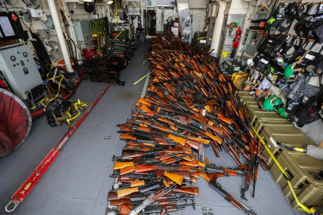 The Australian Navy seized a small fishing vessel carrying more than 2,000 weapons in the Gulf of Aden that may have been sent from Iran to Yemen's Houthi rebels. There were 18 people of various nationalities aboard the ship, but officials could not confirm their identification documents were authentic. Photo courtesy of the Royal Australian Navy