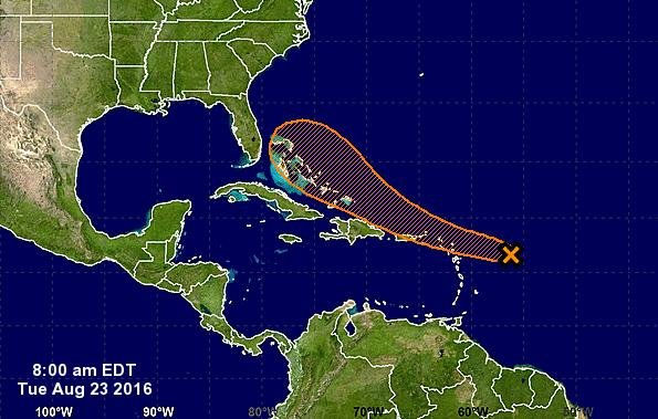 An area of disturbed weather northeast of the Leeward Islands has a good chance of strengthening into the Atlantic's next named storm. It would be called Hermine. The storm is expected to be over the Bahamas by Saturday, where it could pose a threat to the East Coast. Image via NHC