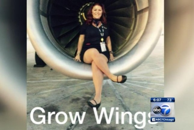 Spirit Airlines flight attendant Ericka Diehl posed for pictures in the jet engine well of a plane about to take off from O'Hare International Airport in Chicago. WLS-TV screenshot