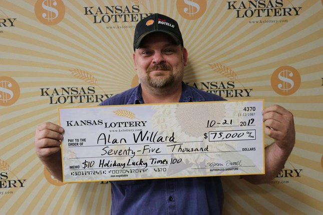 A Kansas man said some luck at a casino set off a string of scratch-off lottery wins that led to a $75,000 jackpot. Photo courtesy of the Kansas Lottery