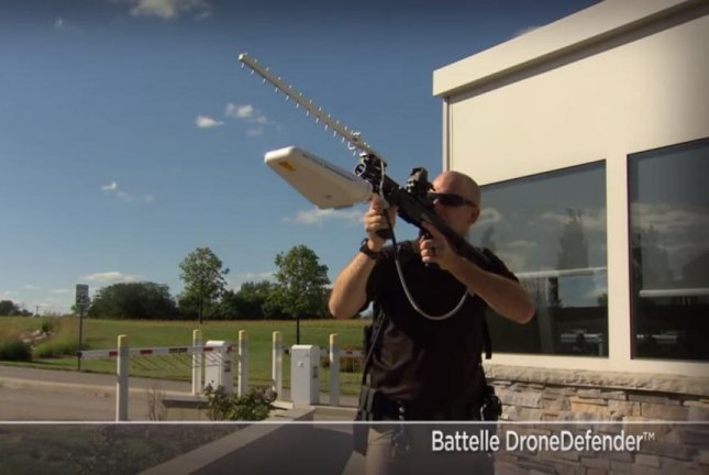 Defense non-profit Battelle showed off its handheld DroneDefender system at this week's Navy Sea-Air-Space Exposition. Screenshot via Battelle/YouTube