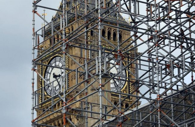 Big Ben, London's 315-foot clock tower, chimed at noon on Monday for the last time until 2021. The tower, clock and bell will undergo a $37 million renovation. Photo by Will Oliver/EPA