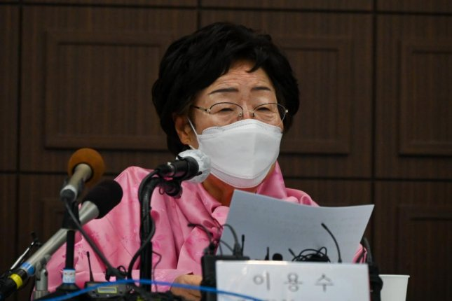 Lee Yong-soo, a survivor of wartime sexual slavery by the Japanese, called on Tokyo and Seoul on Tuesday to refer the issue to the United Nations' International Court of Justice. Photo by Thomas Maresca/UPI