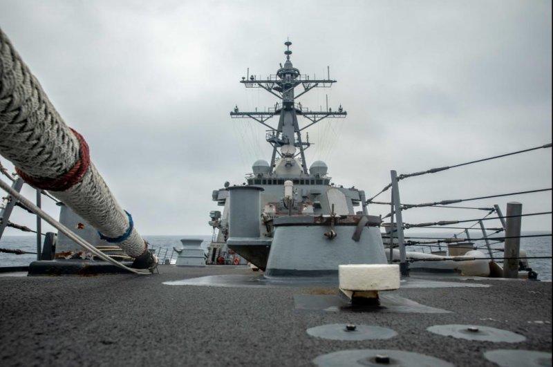 The Arleigh Burke-class guided-missile destroyer USS Curtis Wilbur sailed through the Taiwan Strait Tuesday. Photo by Zenaida Roth/U.S. Navy