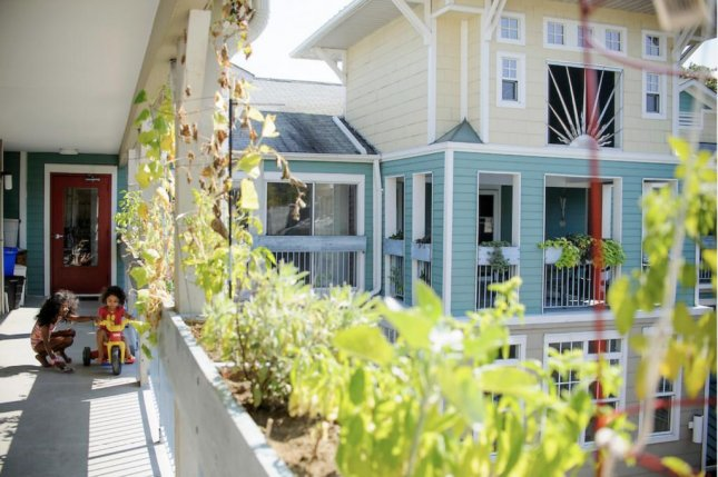 The Takoma Village co-housing development is in Washington, D.C., encouraging ecologically responsible living. Photo by Matt Roth