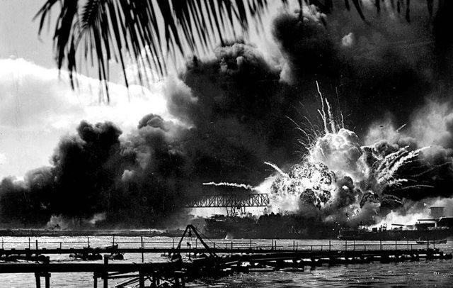 The USS Shaw explodes during the Japanese attack on Pearl Harbor in Hawaii on Dec. 7, 1941. Photo courtesy of the U.S. Navy.