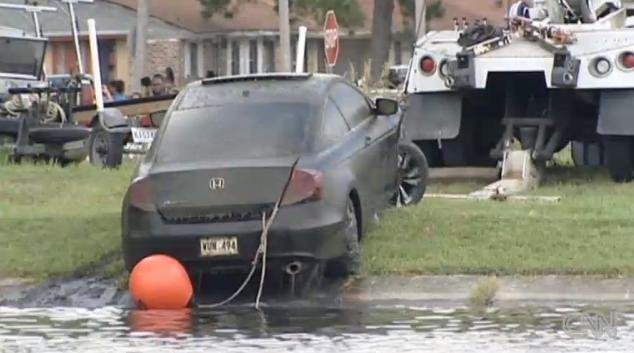 Terrilynn Monette's car being pulled from the bayou.