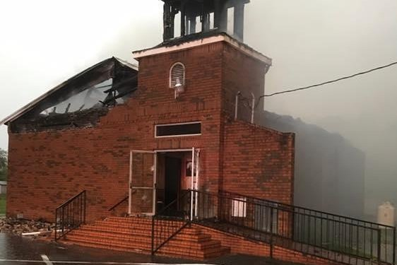 Smoke and fire damage is seen at the Mount Pleasant Missionary Baptist Church in Louisiana after it was burned this month. Photo courtesy Louisiana State Fire Marshal/Facebook