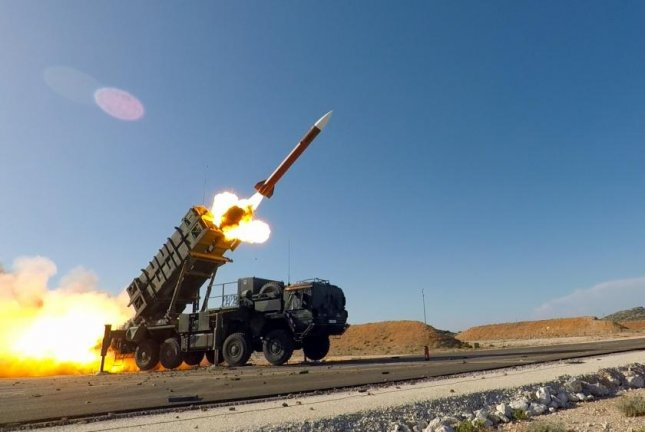 A Patriot missile is fired during Exercise Artemis Strike, a German-led tactical live fire exercise with live Patriot and Stinger missiles at the NATO Missile Firing Installation, in Chania, Greece, in November 2017. Photo by Anthony Sweeney/U.S. Army Europe