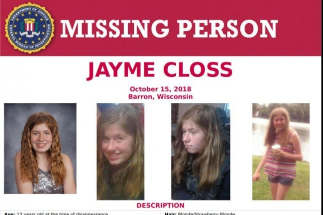 An FBI poster details the disappearance of Jayme Closs, who was last seen October 15 in Barron, Minn. Image courtesy FBI