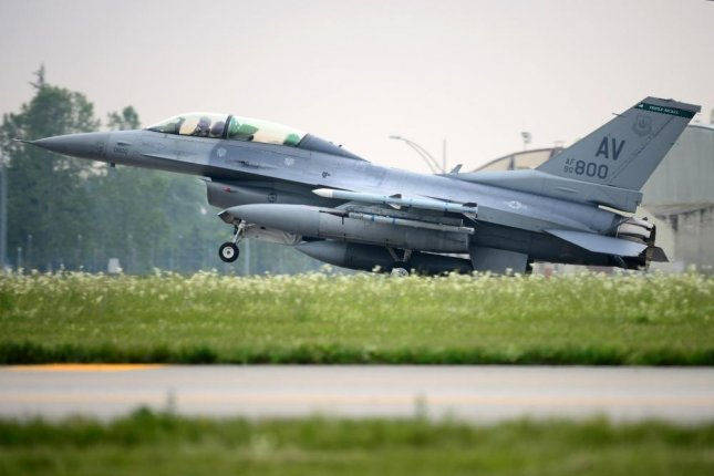 An F-16 Fighting Falcon from the 555th Fighter Squadron lands, during Astral Knight 2019, at Aviano Air Base, Italy in June of 2019. Photo by Caleb House/U.S. Air Force