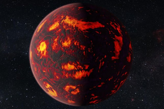 An artistic rendering of 55 Cancri e. Researcher believe the exoplanet's insides are carbon rich. Photo by NASA/ESA/Hubble Space Telescope