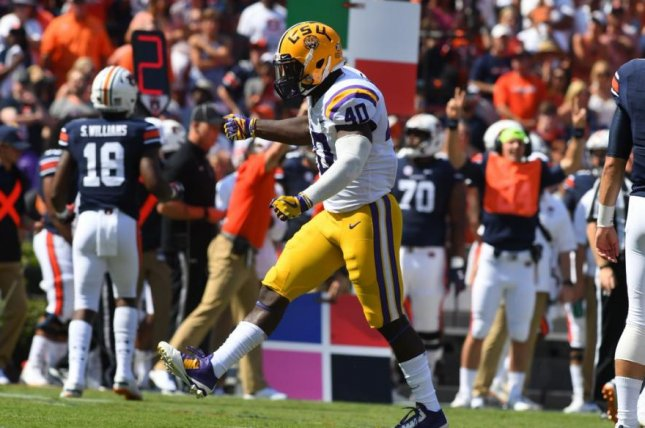 LSU linebacker Devin White (40) will miss the first half of the upcoming game against No. 1 Alabama after he was called for targeting in Saturday's contest. Photo courtesy of LSU Tigers football/Twitter