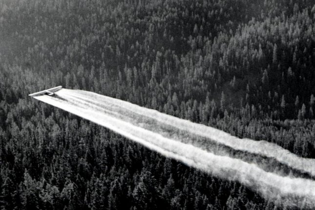 In the 1950s and 60s, the harmful insecticide DDT was sprayed liberally across North America forests and croplands. Photo by Forest Service/USDA