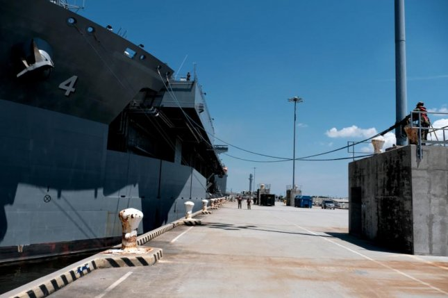 The USS Woody Williams pulled into Naples Thursday for a routine logistics stop. Photo courtesy of U.S. Navy