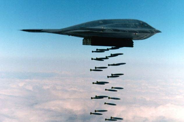The air forces of France and Germany have purchased more than 2,000 MK82-EP aircraft bombs, an upgraded version of the MK-80s pictured being dropped by a U.S. B-2 bomber. Photo courtesy of U.S. Air Force