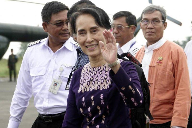 Myanmar leader Aung San Suu Kyi visits Rakhine state Thursday after months of violence and a mass exodus of the Rohingya Muslim minority to Bangladesh. Photo by Nyunt Win/EPA